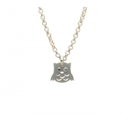 Night Owl Charm Necklace title=