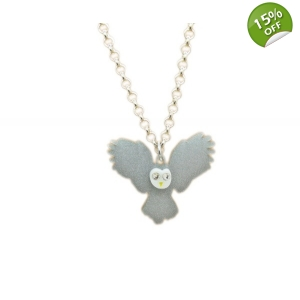 Night Owl In Flight Charm Necklace