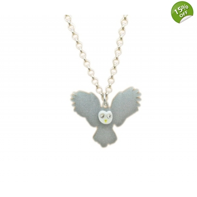 Night Owl In Flight Charm Necklace title=