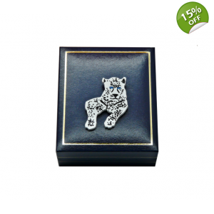 White Snow Leopard Pin Brooch