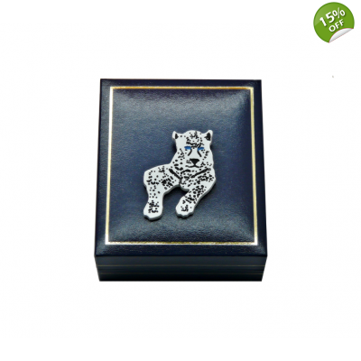 White Snow Leopard Pin Brooch title=