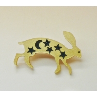Gold wild Hare pin brooch badge