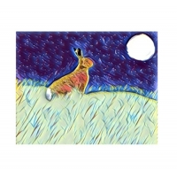 Moonlight gazing Hare Wall Art Pr..