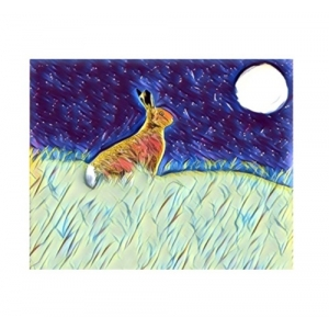 Moonlight gazing Hare Wall Art Print