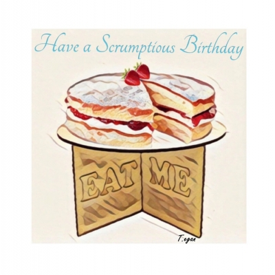 Scrumptious Victoria sponge birthday Greetings Cards title=