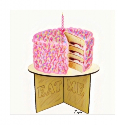 Scrumptious Celebration cake Greetings Card title=