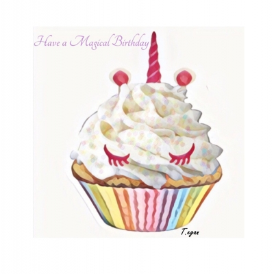 Scrumptious Unicorn cupcake birthday Greetings Card title=