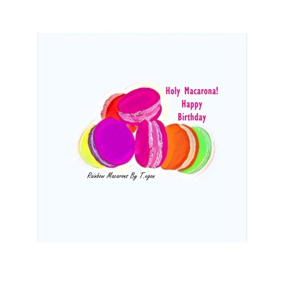 Scrumptious Rainbow Macarons Food Art Greetings Card title=
