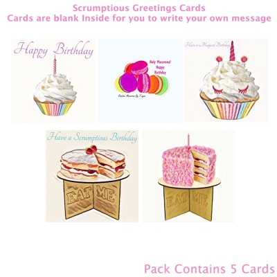 Scrumptious Food Art Greetings Cards Pk 5 title=