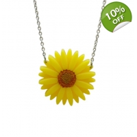 Deluxe Yellow Gerbera Necklace