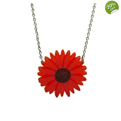 Deluxe Red Gerbera Necklace title=