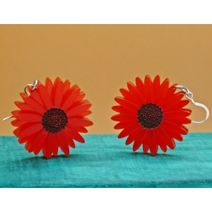 Deluxe Red Gerbera Statement Earrings