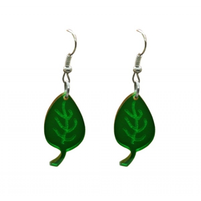 Green Leaf Earrings title=