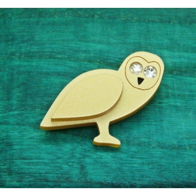 Golden crystallised Owl Pin Brooch Badge