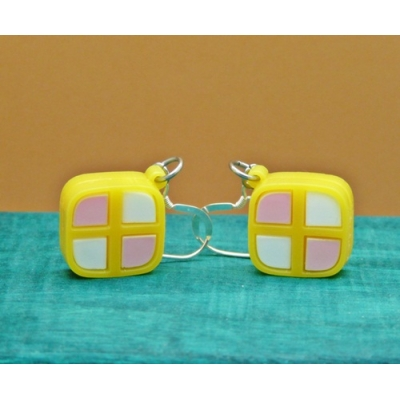 Deluxe Mini Battenburg Cake Slice Earrings title=