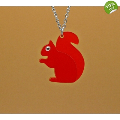 Red Squirrel Necklace title=