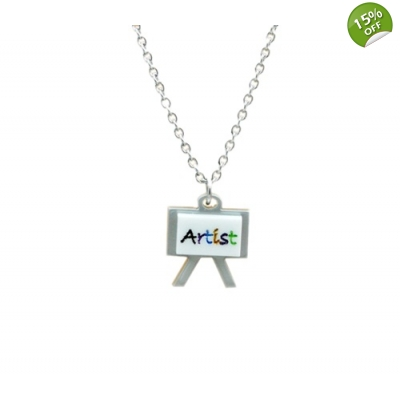 Artist Easel Charm Necklace title=