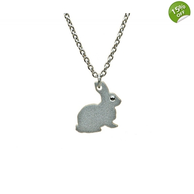 Silver Bunny Rabbit Necklace title=