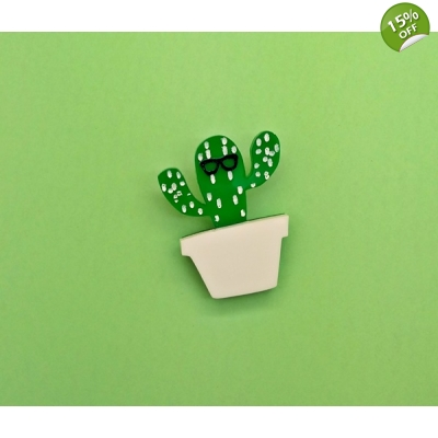 Ltd Edt Plant gardening Geek Cactus Pin Badge title=