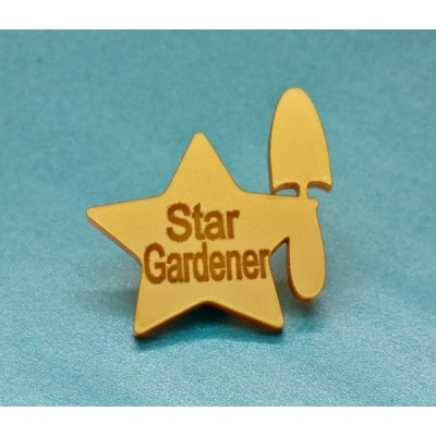 Ltd Edt Gold Star Gardener Pin Badge title=