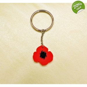 Wild Flower Poppy Keyring