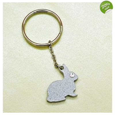 Silver Bunny Rabbit Keyring title=