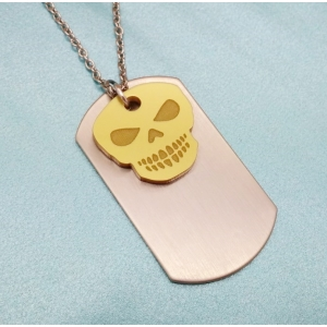Free Spirited Soul Gold Skull Dog tag ..