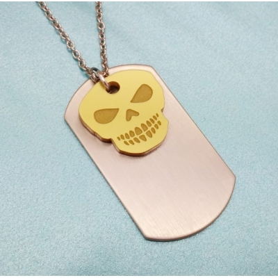 Free Spirited Soul Gold Skull Dog tag Chain title=