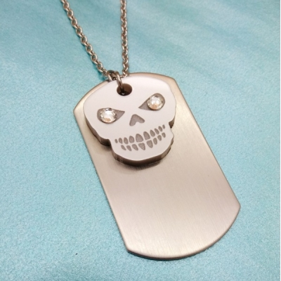 Free Spirited Soul Silver Skull Dog tag Chain title=