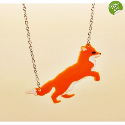 Leaping Fox Necklace title=