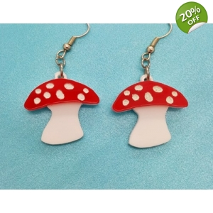 Red toadstool mushroom Fungi Earrings
