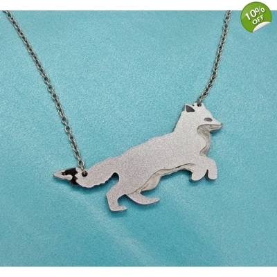 Leaping Winter Fox Necklace title=