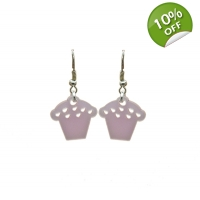 Pearly Pink Cupcake Earrings