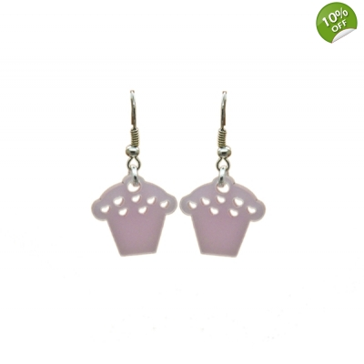 Pearly Pink Cupcake Earrings title=