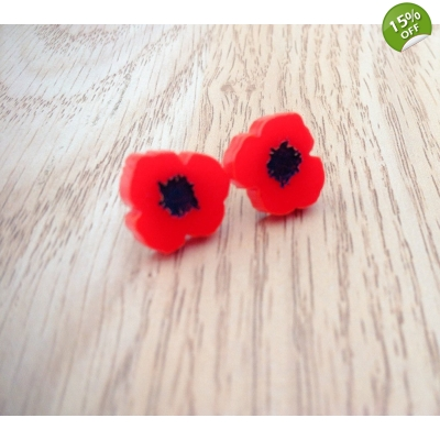 Wild Poppy Earrings title=