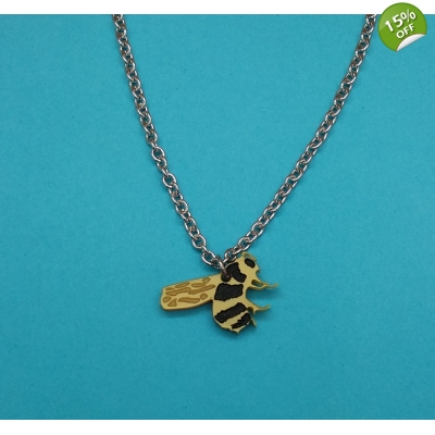 Gold Bumble Bee necklace title=