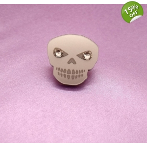 Crystal Skull Pin Brooch Badge