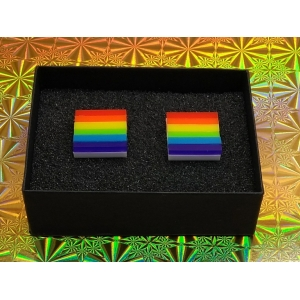 Rainbow square cufflinks