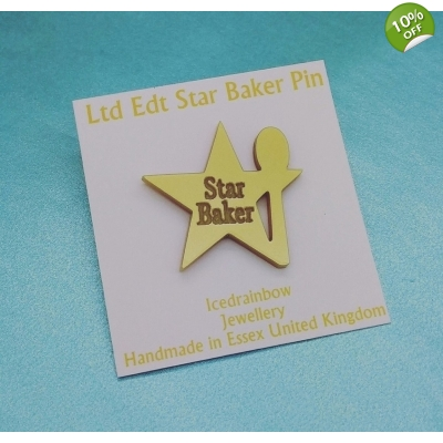 Ltd Edt Gold Star Baker Pin Badge Bake off GBBO title=