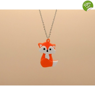 Sitting baby fox Necklace title=