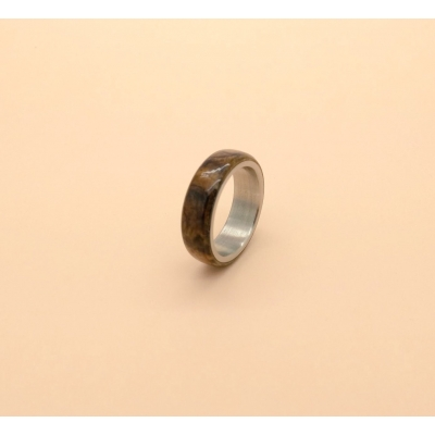 Limited Edition Burr Walnut Wood and Steel Ring Size T 8mm Band title=