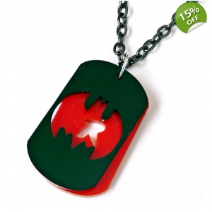 Batman and robin deluxe dog tag necklace