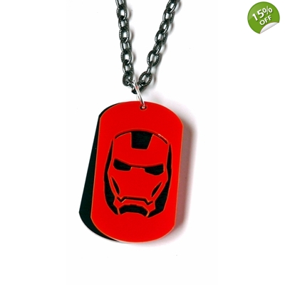 Deluxe iron Man Dog tag Necklace title=