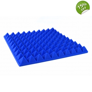 8x Pyramid Foam Tiles Blue Profiled Pyramid Foam Panels 50mm Blue