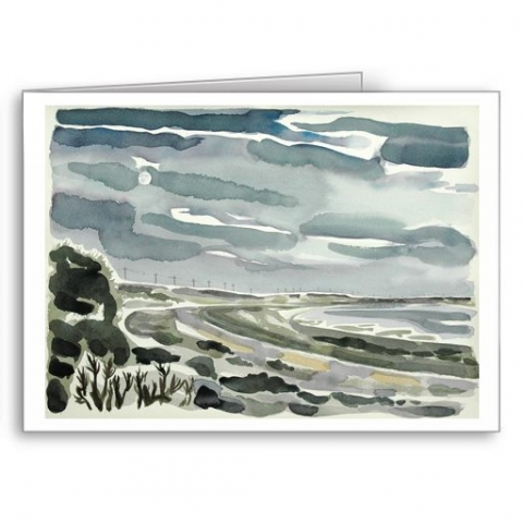 Spurn Point Moonrise - card