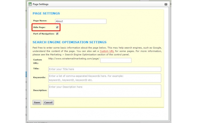 Changing the Main Navigation: Settings Page: Hidden Page