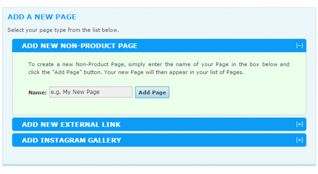 How to add a new non-product page