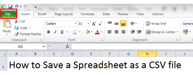 Save a Spreadsheet: File