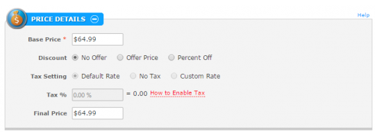 Editing Products: Price Details Panel