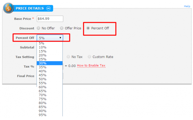 Special Offers Page - Price Settings